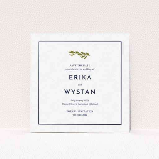 """A wedding save the date card design named """"Olive branch stamp"""". It is a square (148mm x 148mm) card in a square orientation. """"Olive branch stamp"""" is available as a flat card, with tones of white and green."""