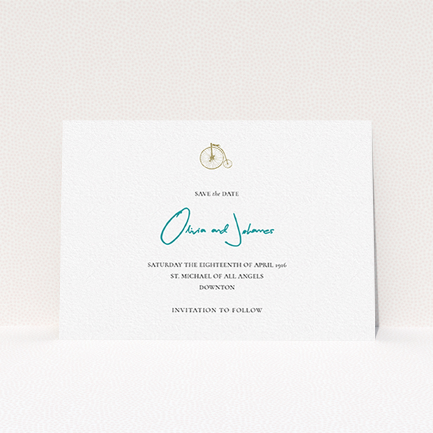"""A wedding save the date card named """"On your bike new"""". It is an A6 card in a landscape orientation. """"On your bike new"""" is available as a flat card, with tones of white and blue."""
