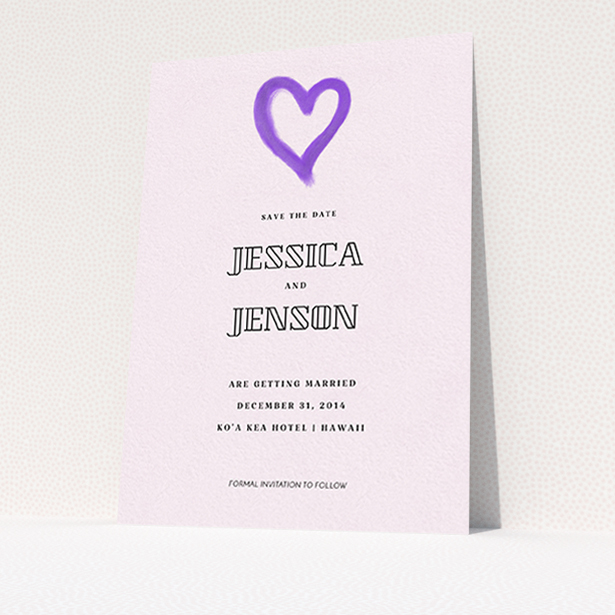 """A wedding save the date card named """"One little heart"""". It is an A6 card in a portrait orientation. """"One little heart"""" is available as a flat card, with mainly purple/dark pink colouring."""