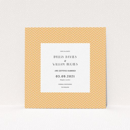 """A wedding save the date card design called """"Orange Houndstooth"""". It is a square (148mm x 148mm) card in a square orientation. """"Orange Houndstooth"""" is available as a flat card, with tones of orange and white."""