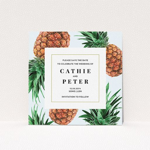 """A wedding save the date card design titled """"Pineapples falling"""". It is a square (148mm x 148mm) card in a square orientation. """"Pineapples falling"""" is available as a flat card, with tones of light blue and green."""