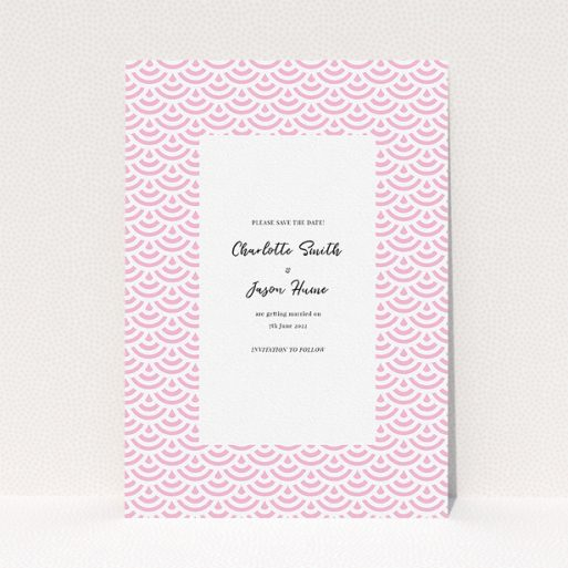 """A wedding save the date card template titled """"Pink Fans"""". It is an A5 card in a portrait orientation. """"Pink Fans"""" is available as a flat card, with mainly pink colouring."""