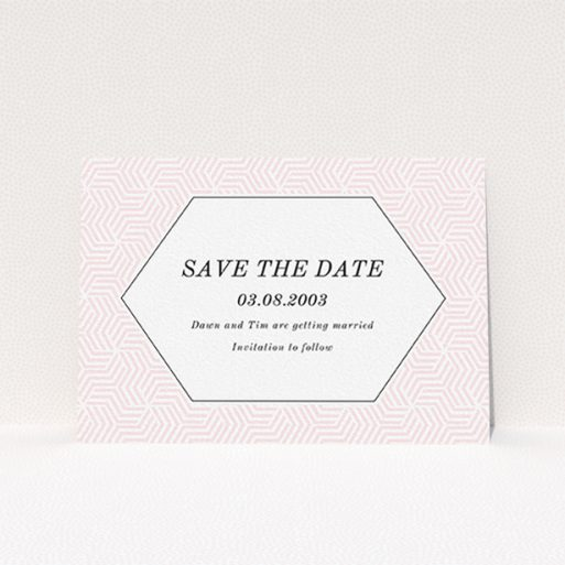 """A wedding save the date card template titled """"Pink geometric maze"""". It is an A6 card in a landscape orientation. """"Pink geometric maze"""" is available as a flat card, with tones of pink and white."""
