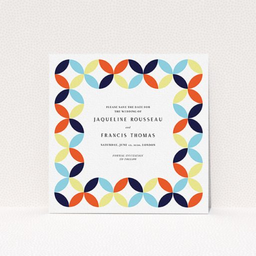 """A wedding save the date card design titled """"Round and Round"""". It is a square (148mm x 148mm) card in a square orientation. """"Round and Round"""" is available as a flat card, with mainly light blue colouring."""