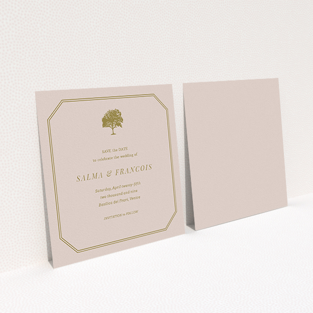"""A wedding save the date card design named """"Royal oak"""". It is a square (148mm x 148mm) card in a square orientation. """"Royal oak"""" is available as a flat card, with mainly dark cream colouring."""