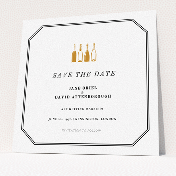 """A wedding save the date card template titled """"See you at the reception"""". It is a square (148mm x 148mm) card in a square orientation. """"See you at the reception"""" is available as a flat card, with mainly gold colouring."""