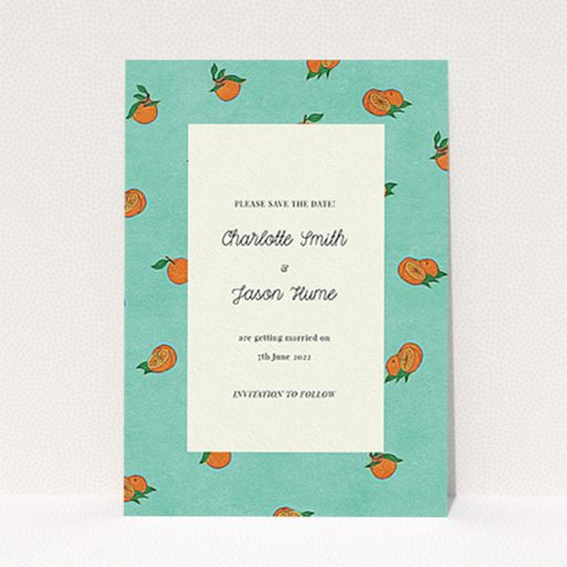 """A wedding save the date card design called """"Seville"""". It is an A6 card in a portrait orientation. """"Seville"""" is available as a flat card, with tones of green and orange."""