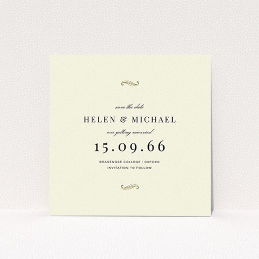 """A wedding save the date card template titled """"Simple flourish"""". It is a square (148mm x 148mm) card in a square orientation. """"Simple flourish"""" is available as a flat card, with tones of cream and gold."""