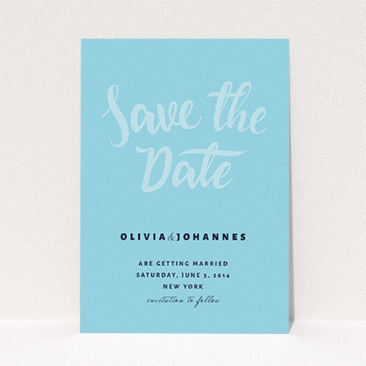 """A wedding save the date card template titled """"Sky on Blue Typography"""". It is an A6 card in a portrait orientation. """"Sky on Blue Typography"""" is available as a flat card, with mainly blue colouring."""