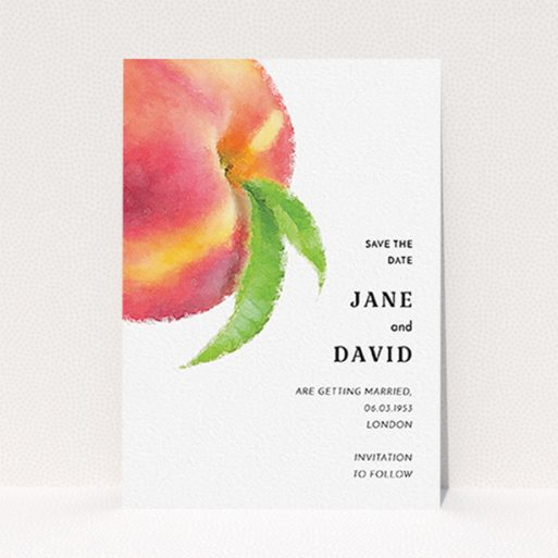 """A wedding save the date card design titled """"Summer peach"""". It is an A6 card in a portrait orientation. """"Summer peach"""" is available as a flat card, with tones of white and red."""