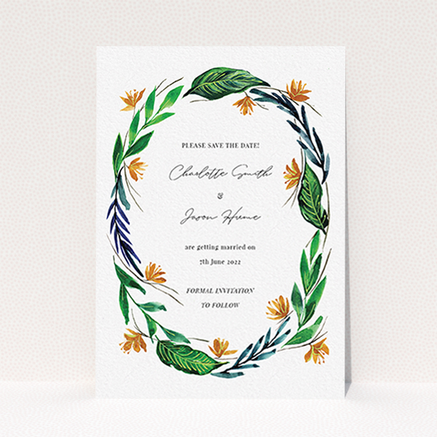 """A wedding save the date card design named """"Summer Whirl Wreath"""". It is an A6 card in a portrait orientation. """"Summer Whirl Wreath"""" is available as a flat card, with tones of green, dark blue and orange."""
