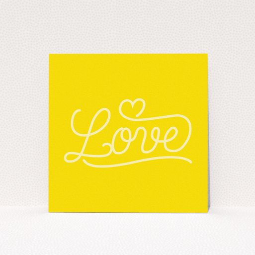 """A wedding save the date card template titled """"Sunshine Yellow Typography"""". It is a square (148mm x 148mm) card in a square orientation. """"Sunshine Yellow Typography"""" is available as a flat card, with tones of yellow and white."""