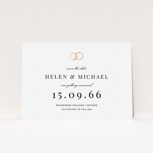 """A wedding save the date card template titled """"The newlyweds"""". It is an A6 card in a landscape orientation. """"The newlyweds"""" is available as a flat card, with tones of white and gold."""