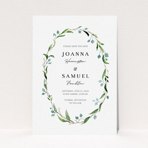 """A wedding save the date card design titled """"Thin Watercolour Wreath"""". It is an A6 card in a portrait orientation. """"Thin Watercolour Wreath"""" is available as a flat card, with tones of blue and green."""