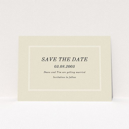 """A wedding save the date card design named """"Three line border"""". It is an A6 card in a landscape orientation. """"Three line border"""" is available as a flat card, with mainly dark cream colouring."""