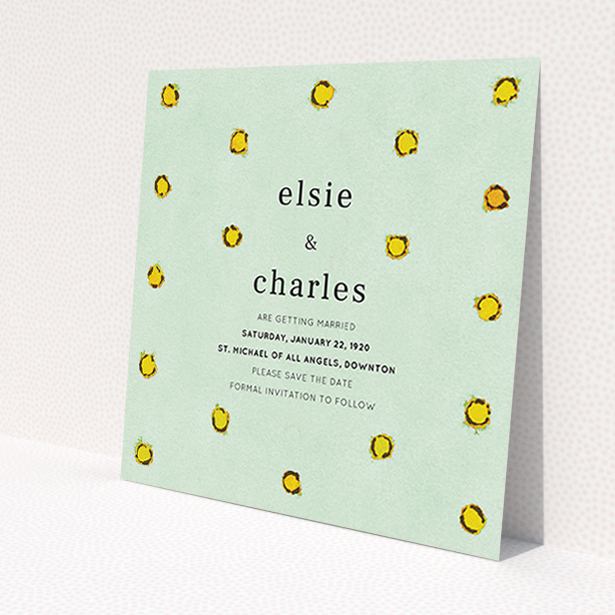 """A wedding save the date card design titled """"Turquoise polkadots"""". It is a square (148mm x 148mm) card in a square orientation. """"Turquoise polkadots"""" is available as a flat card, with tones of green and yellow."""