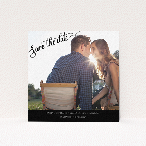 """A wedding save the date card called """"Typography Corner"""". It is a square (148mm x 148mm) card in a square orientation. It is a photographic wedding save the date card with room for 1 photo. """"Typography Corner"""" is available as a flat card, with tones of black and white."""