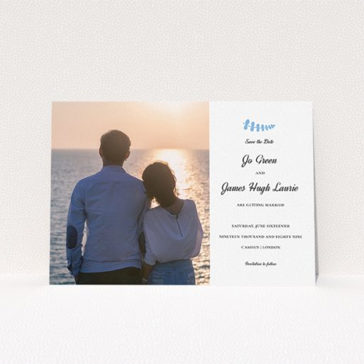 """A wedding save the date card design named """"Us and blossom"""". It is an A5 card in a landscape orientation. It is a photographic wedding save the date card with room for 1 photo. """"Us and blossom"""" is available as a flat card, with tones of white and blue."""