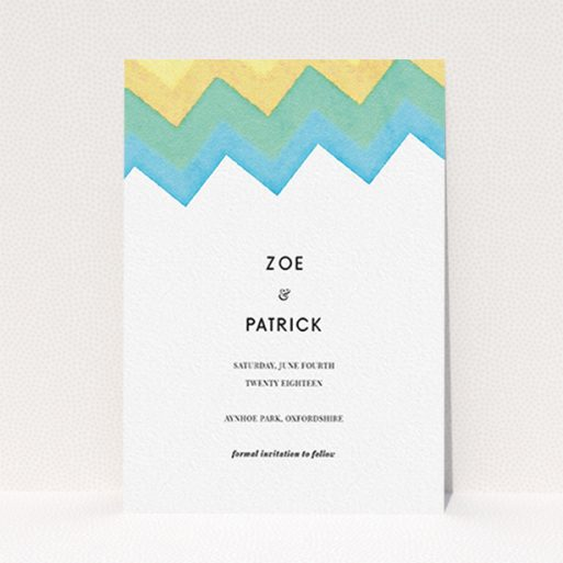 """A wedding save the date card design named """"Vibrant Peaks"""". It is an A6 card in a portrait orientation. """"Vibrant Peaks"""" is available as a flat card, with tones of white, blue and green."""