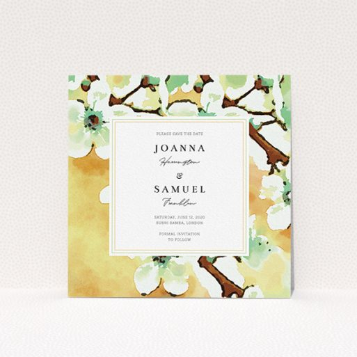 """A wedding save the date card design called """"Vintage Blossom"""". It is a square (148mm x 148mm) card in a square orientation. """"Vintage Blossom"""" is available as a flat card, with tones of deep orange, mint green and white."""