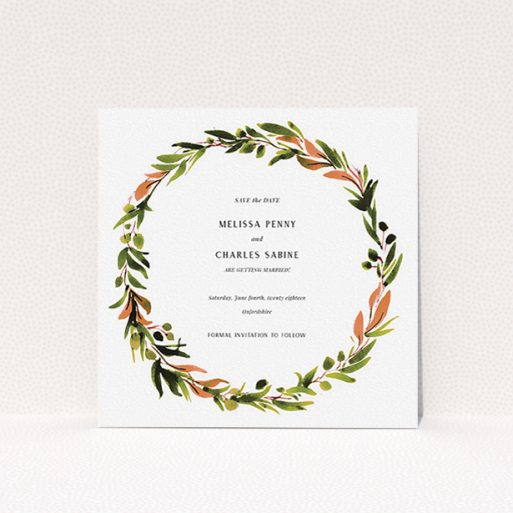 """A wedding save the date card called """"Watercolour Olive Wreath"""". It is a square (148mm x 148mm) card in a square orientation. """"Watercolour Olive Wreath"""" is available as a flat card, with tones of green, dark green and terracotta."""