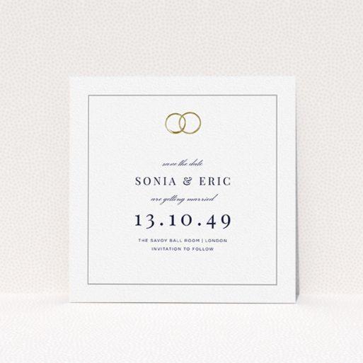 """A wedding save the date card design titled """"Wedding bands"""". It is a square (148mm x 148mm) card in a square orientation. """"Wedding bands"""" is available as a flat card, with tones of white and gold."""