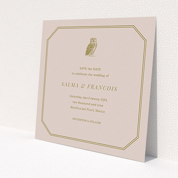 """A wedding save the date card template titled """"Wise old owl"""". It is a square (148mm x 148mm) card in a square orientation. """"Wise old owl"""" is available as a flat card, with mainly dark cream colouring."""