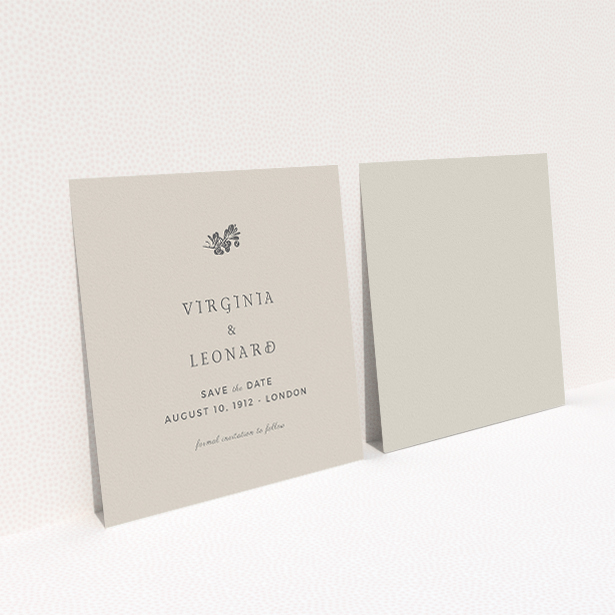 """A wedding save the date card called """"Woodland dusk"""". It is a square (148mm x 148mm) card in a square orientation. """"Woodland dusk"""" is available as a flat card, with mainly dark cream colouring."""