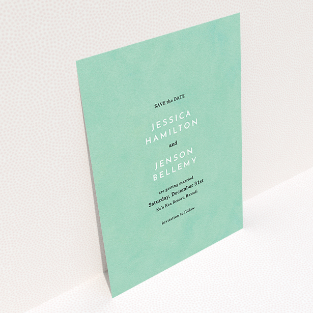 """A wedding save the date card design titled """"Worn Green"""". It is an A6 card in a portrait orientation. """"Worn Green"""" is available as a flat card, with tones of green and white."""