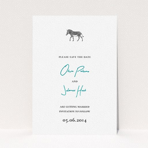 """A wedding save the date card template titled """"Zebra crossing"""". It is an A6 card in a portrait orientation. """"Zebra crossing"""" is available as a flat card, with tones of white and blue."""