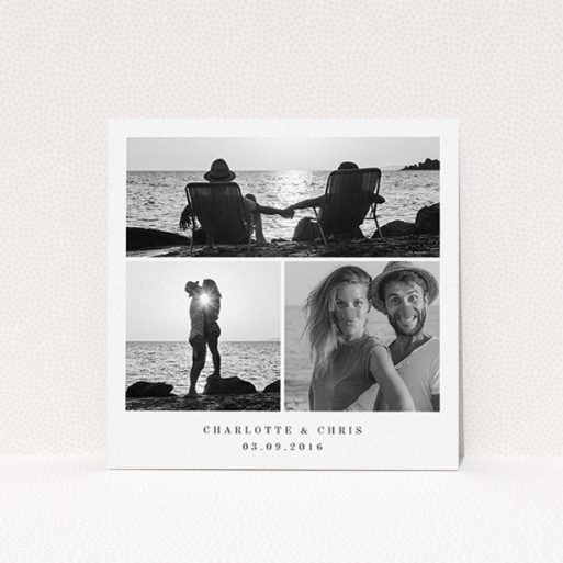 """A wedding save the date design called """"Classic Tryptic"""". It is a square (148mm x 148mm) save the date in a square orientation. It is a photographic wedding save the date with room for 3 photos. """"Classic Tryptic"""" is available as a flat save the date, with mainly white colouring."""
