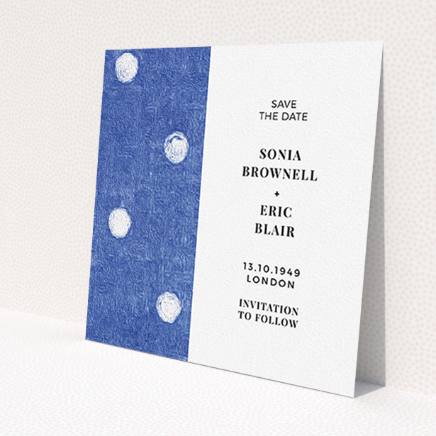 """A wedding save the date design named """"Cloth polkadots"""". It is a square (148mm x 148mm) save the date in a square orientation. """"Cloth polkadots"""" is available as a flat save the date, with tones of blue and white."""