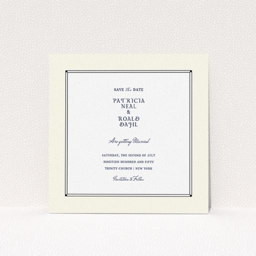 """A wedding save the date design named """"Deco Cream"""". It is a square (148mm x 148mm) save the date in a square orientation. """"Deco Cream"""" is available as a flat save the date, with mainly cream colouring."""
