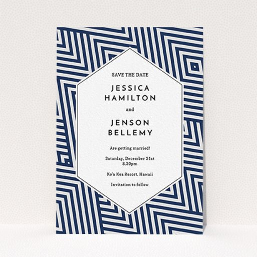 """A wedding save the date design named """"Diamond scratch"""". It is an A6 save the date in a portrait orientation. """"Diamond scratch"""" is available as a flat save the date, with mainly blue colouring."""