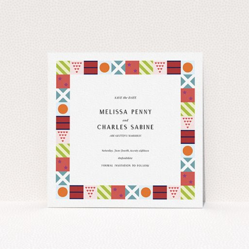 """A wedding save the date named """"Epsom"""". It is a square (148mm x 148mm) save the date in a square orientation. """"Epsom"""" is available as a flat save the date, with mainly red colouring."""
