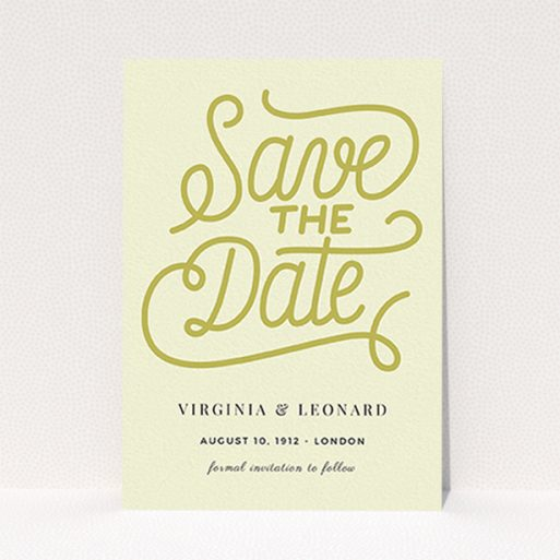 """A wedding save the date named """"Gold on Cream Typography"""". It is an A6 save the date in a portrait orientation. """"Gold on Cream Typography"""" is available as a flat save the date, with tones of cream and gold."""