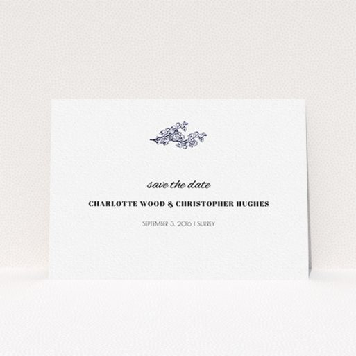 """A wedding save the date design called """"Greek island"""". It is an A6 save the date in a landscape orientation. """"Greek island"""" is available as a flat save the date, with tones of white and blue."""
