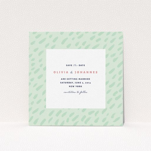 """A wedding save the date called """"Green Strokes"""". It is a square (148mm x 148mm) save the date in a square orientation. """"Green Strokes"""" is available as a flat save the date, with tones of green and white."""
