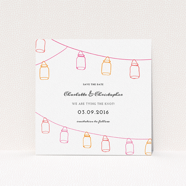 """A wedding save the date template titled """"In a jar"""". It is a square (148mm x 148mm) save the date in a square orientation. """"In a jar"""" is available as a flat save the date, with tones of white, orange and pink."""