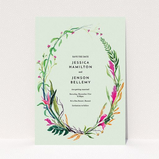 """A wedding save the date called """"Jungle collection"""". It is an A5 save the date in a portrait orientation. """"Jungle collection"""" is available as a flat save the date, with tones of green, pink and orange."""