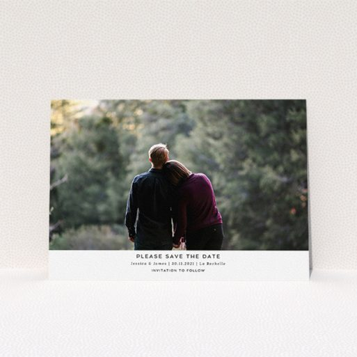 """A wedding save the date template titled """"Landscape Photo"""". It is an A5 save the date in a landscape orientation. It is a photographic wedding save the date with room for 1 photo. """"Landscape Photo"""" is available as a flat save the date, with mainly white colouring."""