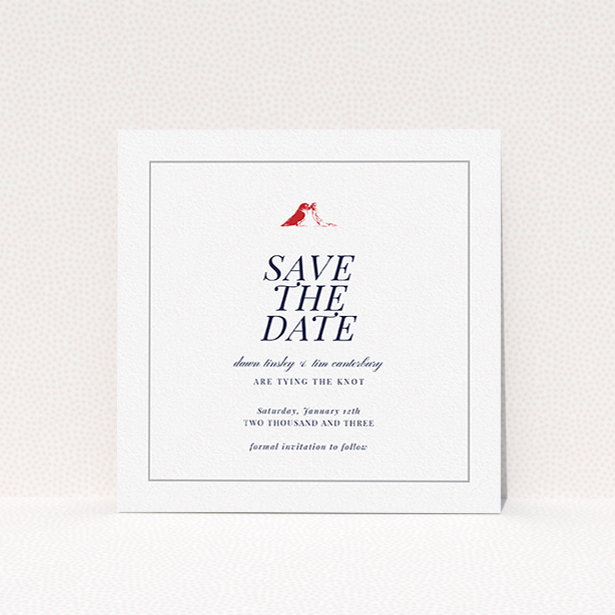 """A wedding save the date named """"Lovebirds"""". It is a square (148mm x 148mm) save the date in a square orientation. """"Lovebirds"""" is available as a flat save the date, with mainly white colouring."""