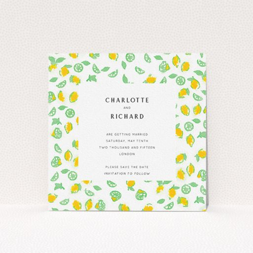 """A wedding save the date design named """"Madeira"""". It is a square (148mm x 148mm) save the date in a square orientation. """"Madeira"""" is available as a flat save the date, with tones of green and yellow."""