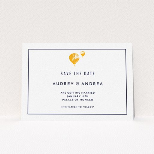 """A wedding save the date template titled """"Off and away"""". It is an A6 save the date in a landscape orientation. """"Off and away"""" is available as a flat save the date, with tones of white and orange."""
