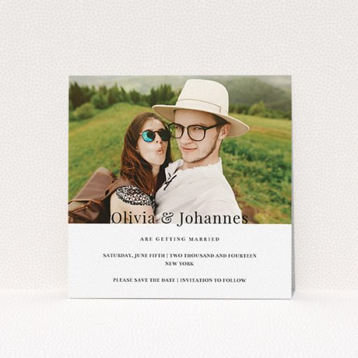"""A wedding save the date template titled """"On the fence"""". It is a square (148mm x 148mm) save the date in a square orientation. It is a photographic wedding save the date with room for 1 photo. """"On the fence"""" is available as a flat save the date, with mainly white colouring."""