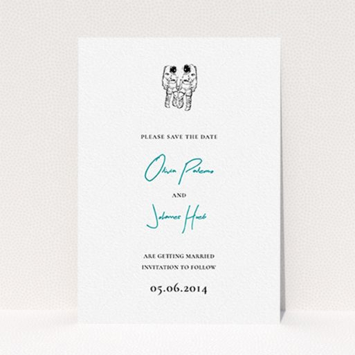 """A wedding save the date design named """"One small step"""". It is an A6 save the date in a portrait orientation. """"One small step"""" is available as a flat save the date, with tones of white and blue."""