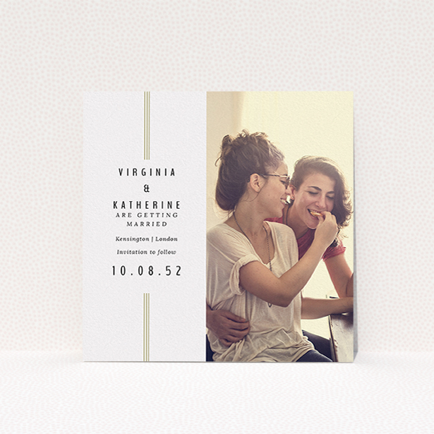 """A wedding save the date named """"Paris 3 Line"""". It is a square (148mm x 148mm) save the date in a square orientation. It is a photographic wedding save the date with room for 1 photo. """"Paris 3 Line"""" is available as a flat save the date, with tones of off-white and gold."""