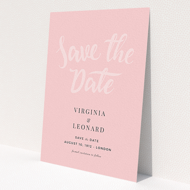 """A wedding save the date design named """"Pink on Rose Typography"""". It is an A6 save the date in a portrait orientation. """"Pink on Rose Typography"""" is available as a flat save the date, with mainly pink colouring."""