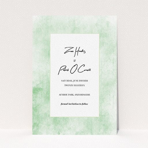 """A wedding save the date design called """"Rustic Green"""". It is an A6 save the date in a portrait orientation. """"Rustic Green"""" is available as a flat save the date, with tones of green and white."""