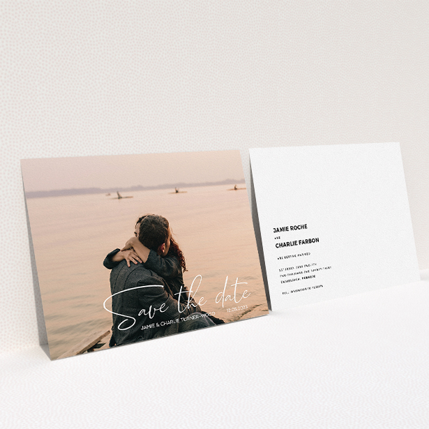 """A wedding save the date named """"Salamanca"""". It is an A5 save the date in a landscape orientation. It is a photographic wedding save the date with room for 1 photo. """"Salamanca"""" is available as a flat save the date, with mainly white colouring."""